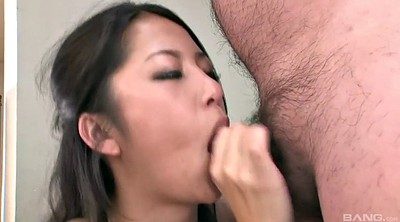 Pantyhose handjob, Asian facial