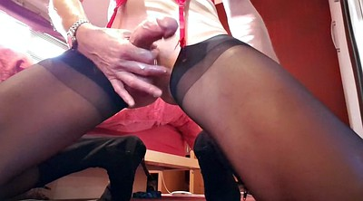 Nylon, Crossdresser, Nylon masturbation, Nylon handjob, Crossdressers