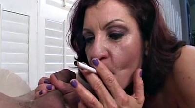 Smoking, Mature handjob, Granny handjob
