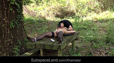 Tied tits, Young spank, Teen young, Outdoor blowjob