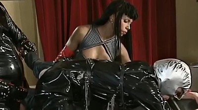 In latex, Costume, Black strapon, Latex strapon, Gay big ass