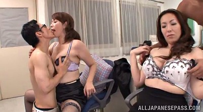 Foursome, Asian big tits, Sex office, Asian fuck