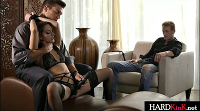 Tie, Tied and fucked, Husband watches, Blond