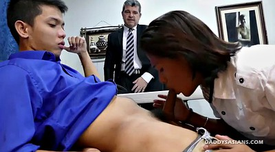 Office, Dad, Young boy, Asian threesome, Asian office, Asian boy