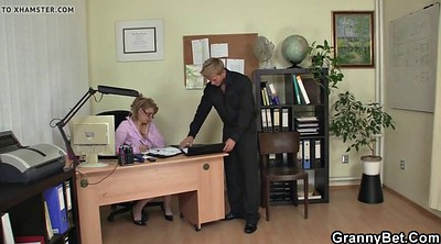 Old woman, Mature woman, Office sex, Young woman