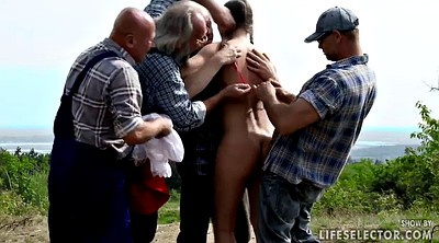 Old, Old gangbang, Red, Forest, Teen gangbang, Pee in