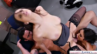 Threesome creampie, Shaking, Office fuck
