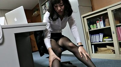 Nude, Tease, Pantyhose foot, Office foot