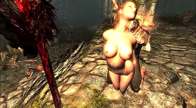 Cartoon, Skyrim, Bondage handjob