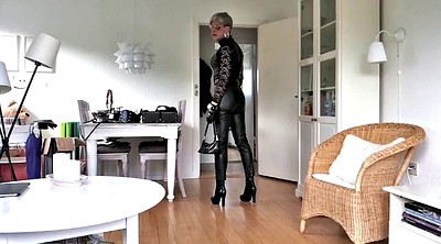 Leather, Pose, Mature tranny, Boot