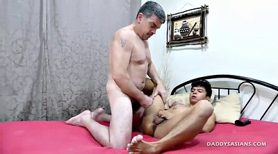 Dad, Old daddy, Asian gay, Asian dildo, Young boy, Old dad