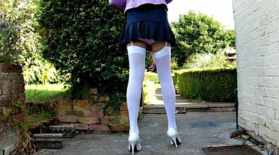 Upskirt, Stocking, White stockings