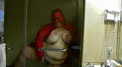 Rain, Latex masturbation, Bbw shower, Bbw masturbate