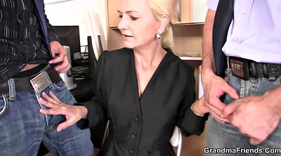 Interview, Mature threesome, Old threesome, Old lady, Job interview