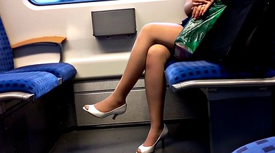 Nylon foot, Peep, Toes, Peeping, Leggings, Train