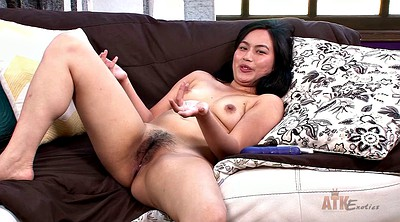 Masturbating, Asian solo dildo, Hairy solo