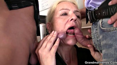 Skinny mature, Skinny granny, Granny threesome, Young threesome