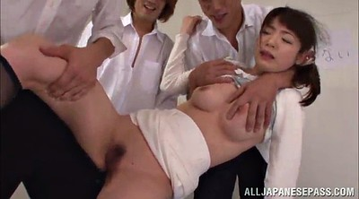 Asian gangbang, Panties handjob, Stocking handjob