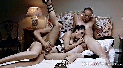 Mistress, Russian mistress, Huge cumshot, Satisfied, Russian threesome, Russian double
