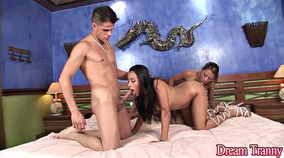 Shemale with girl, Shemale threesome