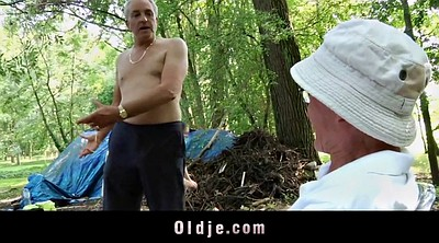 Forest, Old young, Old grandpa, Teen spanking