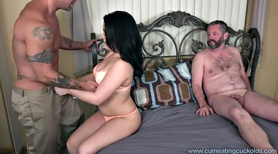 Eat, Husband, Cuckold eating, Eating, Eat cum
