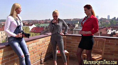 Piss, Pissing, Clothes, Lesbian piss, Piss on, Outdoors piss