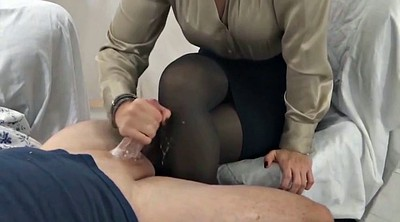 Pantyhose feet, Nylon feet, Stocking feet, Nylon handjob, Cum on nylon