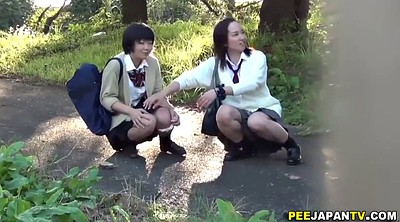 Asian schoolgirl, Asian solo, Parking, Long pee