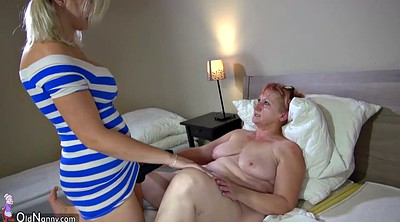 Strapon, Old woman, Granny sex, Young woman