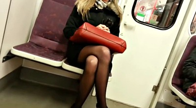 Blonde pantyhose, Pantyhose blonde, Train, Black girl