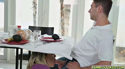 Bear, Table, Under the table, Blond milf