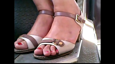 Bus, Mature feet, Mature foot, In bus, Candid