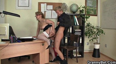 Mature, Old woman, Office sex