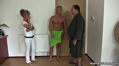 Old dad, Mature mom, Old threesome