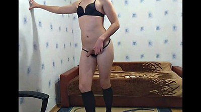 Young gay, Jacking off, Crossdress
