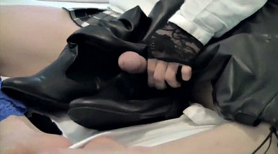 Boots, Leather, Ebony stockings, Ebony stocking, Ebony boots