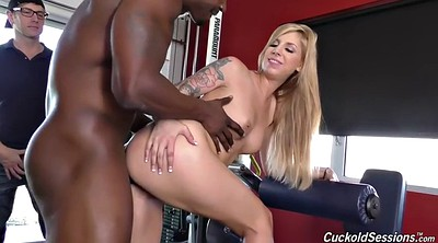 Gym, White blond, Interracial cuckold