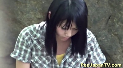 Asian girl, Girl pee, Japanese public, Behind, Asian outdoor