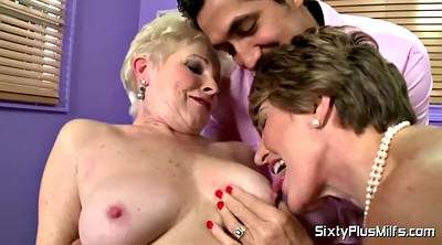 Saggy, Big boob, Granny threesome, Saggy mature, Granny handjob
