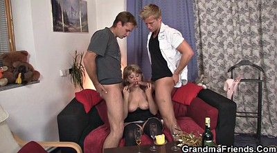 Threesome, Granny young, Mature milf