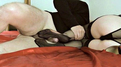 Ebony feet, Stocking footjob, Stocking feet