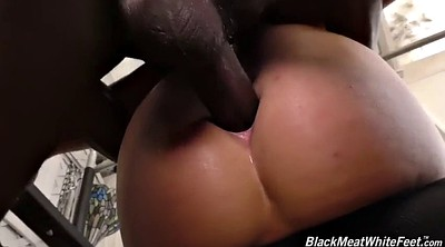 Footjob, Ebony feet, Black anal, White ass, Kate