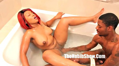 Ebony, Bathroom, Bathroom fuck