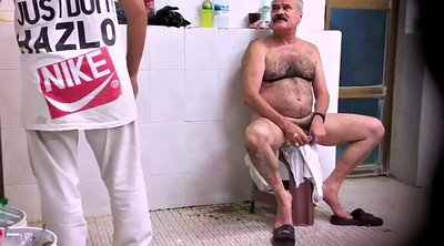 Big, Old gay, Old daddy, Shower public, Sitting, Public naked
