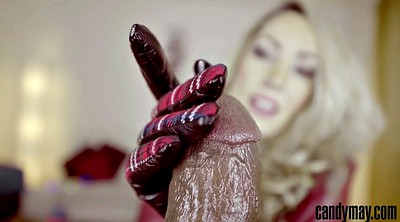 Gloves, Gloved, Leather, Glove, Jerking off, Glove handjob