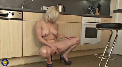 Kitchen, Granny masturbating, Kitchen mature, Blonde mom, Amateur mature, Mom mature