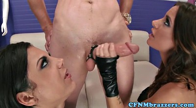 Leather, Squirting threesome