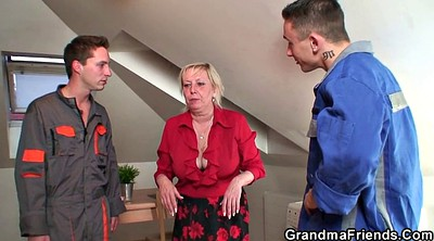 Granny fuck, Old young threesome, Grandmother