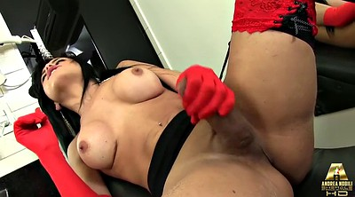 Gloves, Tranny, Jerk, Shemale jerking, Shemale cumshot